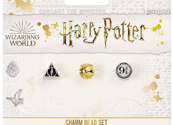 Harry Potter Set of Spacer Beads  Deathly Hallows Golden Snitch & Platform 9 3/4