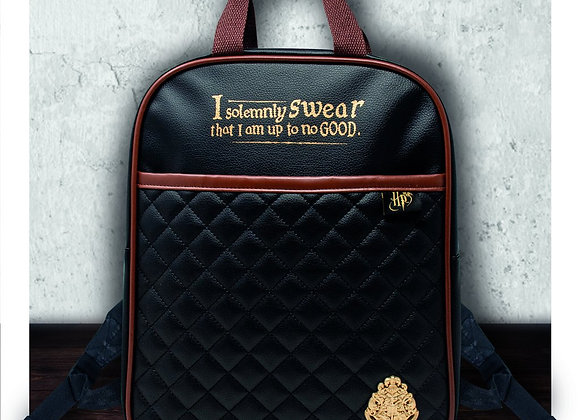 Harry Potter Quilted Backpack Black & Tan