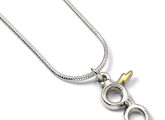 Harry Potter Silver Plated Lightning Bolt with Glasses Necklace