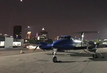 AeroMed King Air 200 on the ramp in Cleveland after a drop off at the Cleveland Clinic on a hot summer evening.
