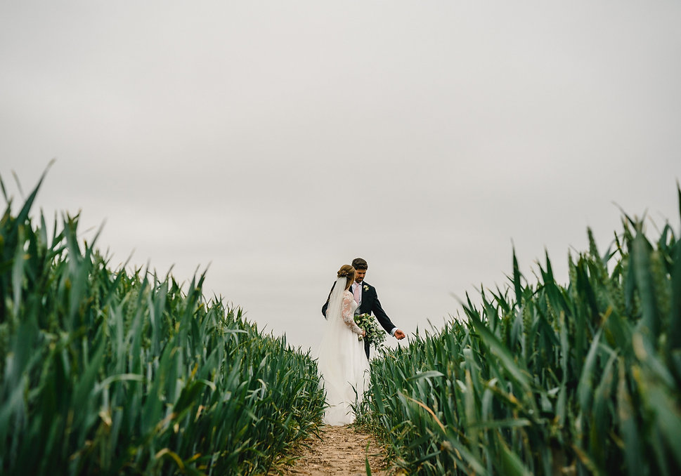 Bride and Groom wonder through wheat fields