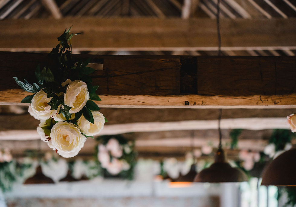 Wedding Flowers Decorate Beams