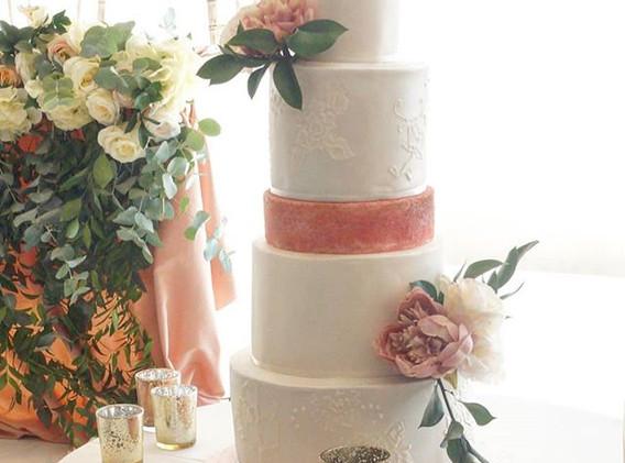 Blush rose gold and blooms cake