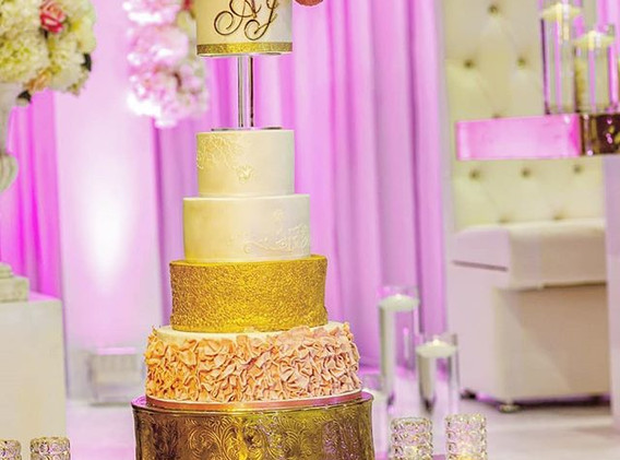Gold and ruffles cake