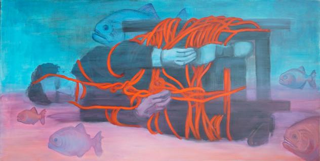 Aquarium piranha, 70x140 cm, acrylic on
