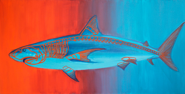 Arrival of a happy shark, 70x140 cm, acr