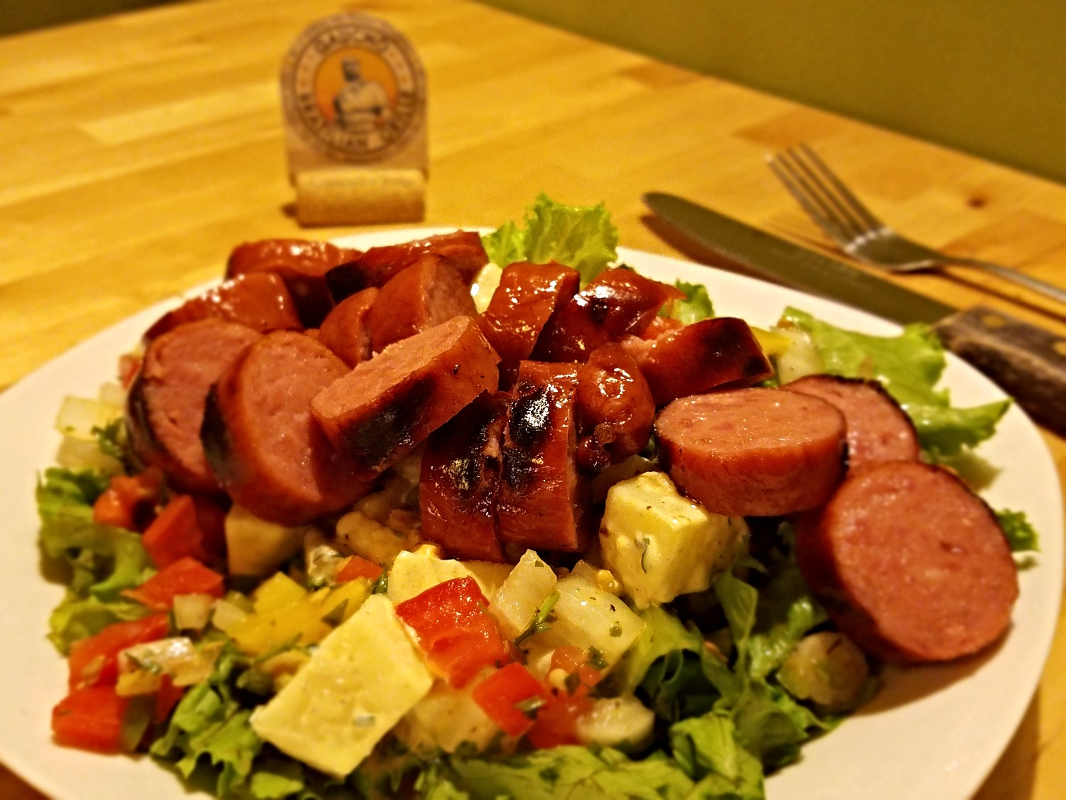Salad Meal featuring smoked Kielbasa