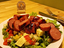 Salad Meal featuring smoked Kielbasa