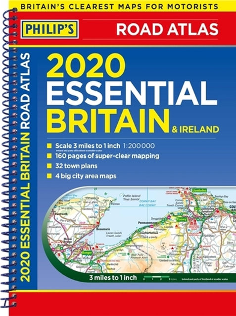 2020 Philip's Essential Road Atlas Britain and Ireland: (A4 Spiral binding)