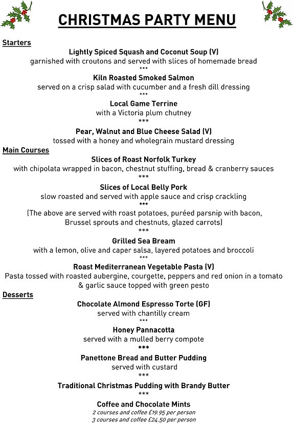 The Angel Halesworth Christmas Party Menu