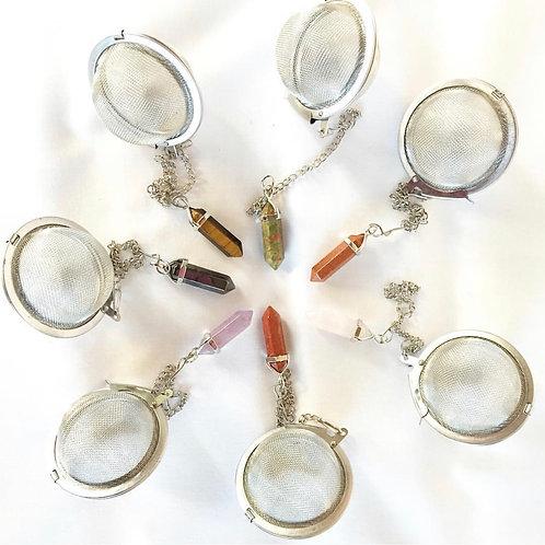 MESH TEA BALL STEEPER with Natural Gemstone Pendant