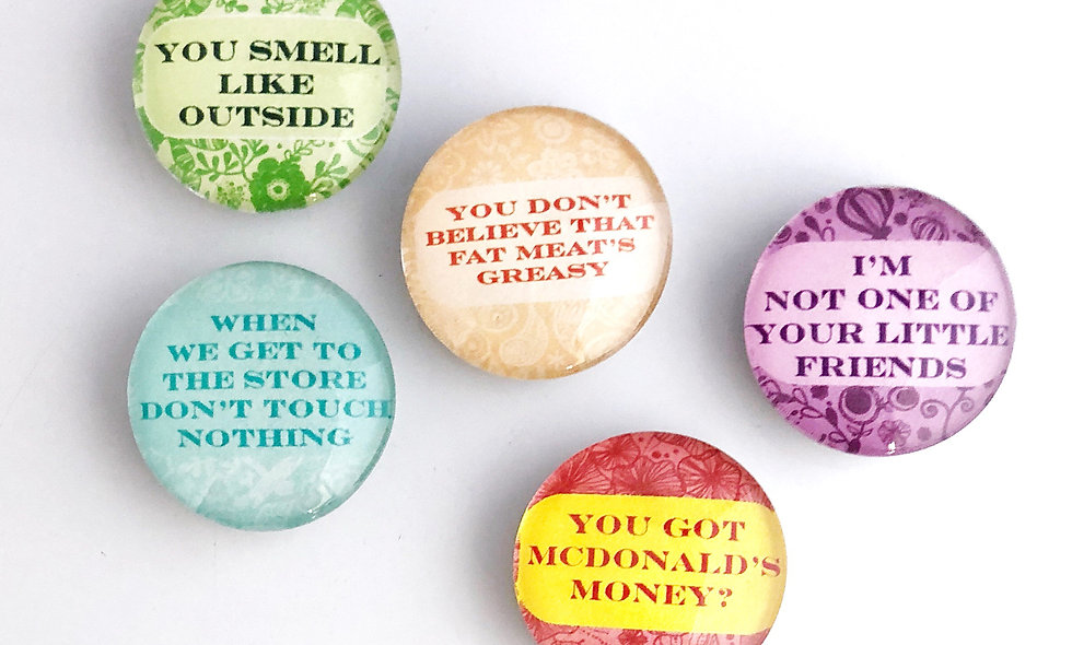 Black Mom Quotes Decorative Glass Domed Magnets