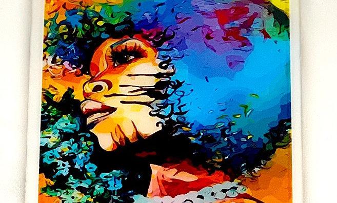 Colored Girl Resin Coated Photo Coaster