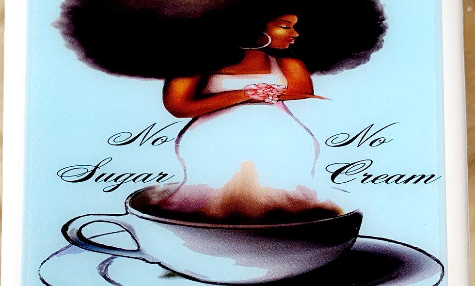 No Sugar No Cream Resin Coated Photo Coaster