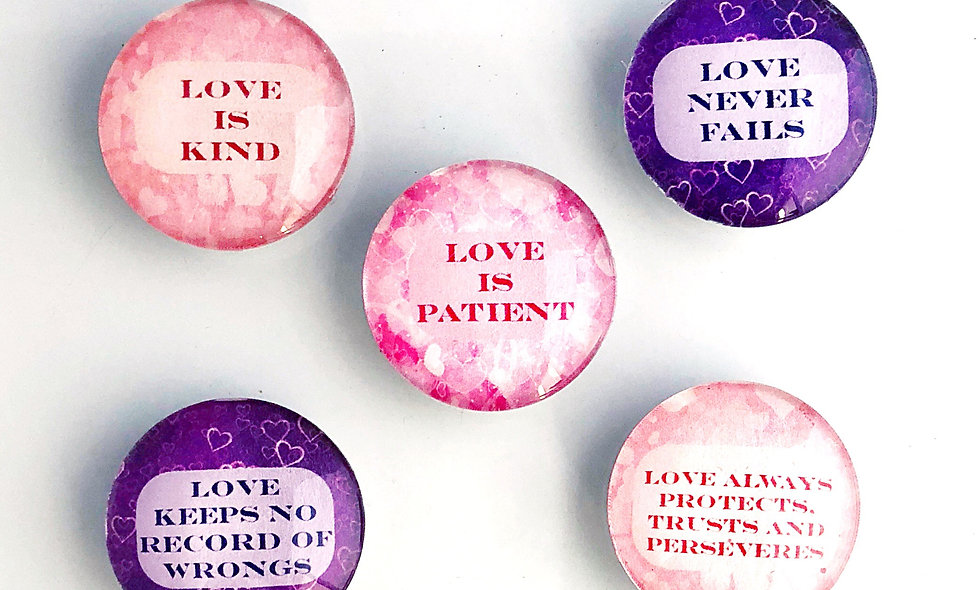 Love Is.. Decorative Glass  Domed Magnets