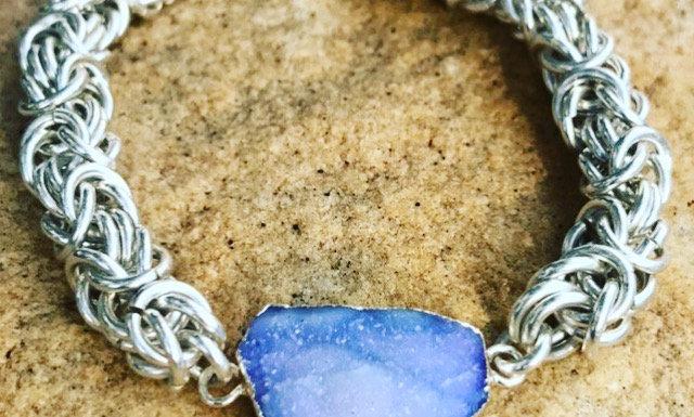 Sterling Silver Chain Maille Bracelet Lavender Druzy Quartz