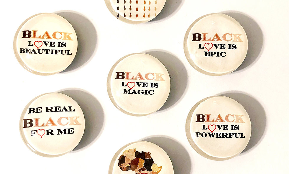 Black Love Is.. Decorative Glass Dome Magnets