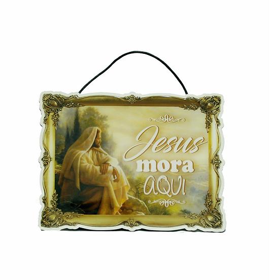 Placa de Madeira em Resina Jesus Mora aqui