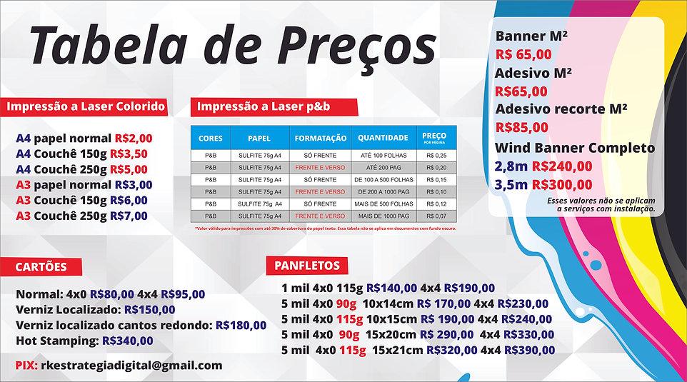 grafica em taguatinga, Brasília DF - compre online - Tabela de preços