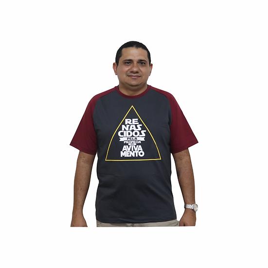 Camiseta A Profecia do Avivamento - Preta com a manga cor vinho