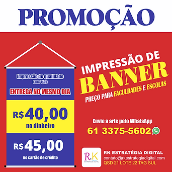Baner TCC, Faculdade - gráfica em Taguatinga Brasília D