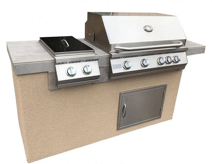 Antigua 6' BBQ Island Built In BBQ Grill Side Burner and Bar on one Side