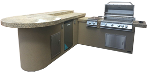 Aruba BBQ Island with Built In BBQ Grill Side Burner and Refrigerator
