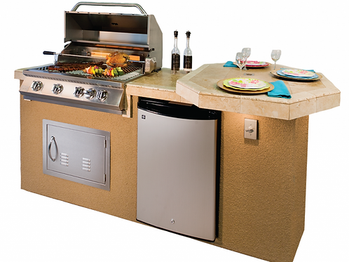 """Poly 7'6"""" BBQ Island with Octagon Bar on Three Sides and Built In BBQ Grill"""
