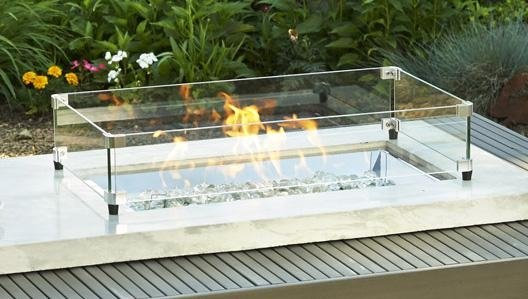 Outdoor GreatRoom Rectangular Tempered Glass Wind Guard