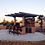 Thumbnail: Outdoor Kitchen T.V. Media Wall with Pergola and Outdoor Bar Seating BBQ Island
