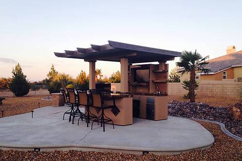Outdoor Kitchen T.V. Media Wall with Pergola and Outdoor Bar Seating BBQ Island