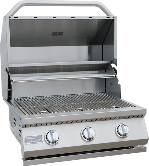 3 Burner Built-In Kokomo BBQ Grill Open Hood