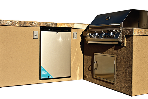 Baja BBQ Island with 4 Burner Built In BBQ Grill and Refrigerator