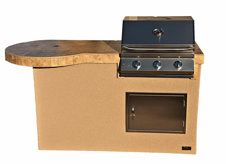 Mini Maui 6' BBQ Island with 33 Inch Bar and Built In BBQ Grill