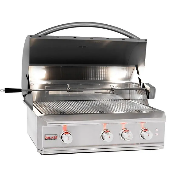Blaze Professional 34-Inch 3-Burner Built-In Gas Grill With Infrared & Lights