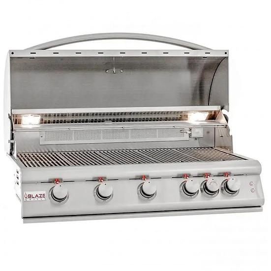 Blaze 40-Inch 5-Burner Built-In Gas Grill With Rear Infrared Burner & Lights