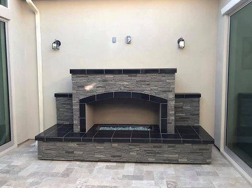 Outdoor Fireplace LP or Nat Gas and Fire-Glass Burner Insert