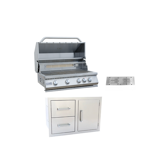 3 Piece 4 Burner 32 Inch BBQ Grill, Combo Door Two Drawer, Vent, Outdoor Kitchen