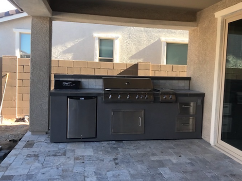 BBQ Island With Built-In BBQ Grill Refrigerator, Drawers, & Double Side Burner