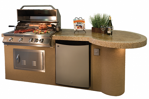 "Maui 7'6"" BBQ Island With 33"" Round Bar on one end Led Lights and Built In BBQ"