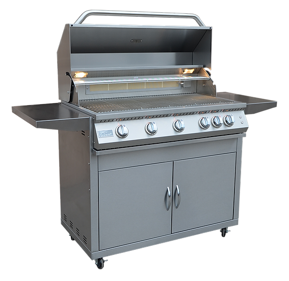 Professional 5 Burner 40 Inch Cart Model BBQ Grill With Lights & Locking Casters