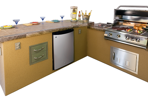 Caribbean BBQ Island with 4 Burner Built In BBQ Grill Refrigerator and Drawers