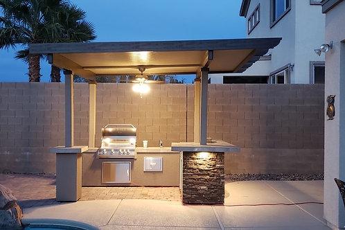 Aruba BBQ Island With 12' x 12' Pergola Built-In BBQ Grill