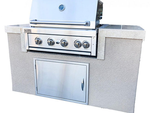 The Cayman 5' BBQ Island with 4 Burner Built In BBQ Grill