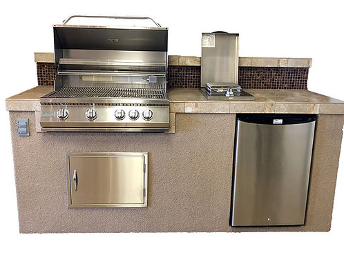 """Bali 7'6"""" Island with Backsplash and Built In BBQ Grill"""