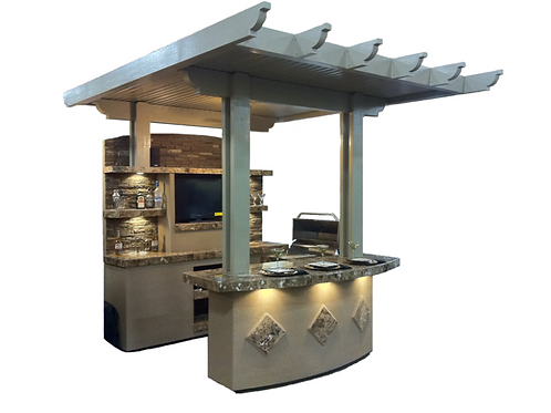 St. Croix Outdoor Kitchen With Built In BBQ Grill and 10x10 Patio Cover