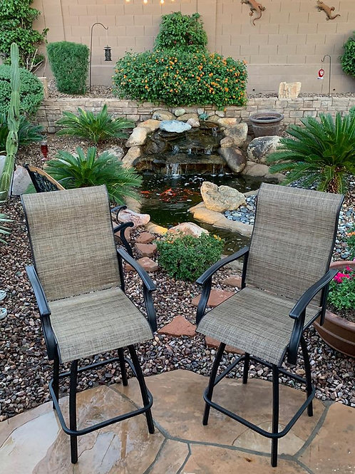 Two Outdoor Kitchen Barstools Built in Swivels and Arm Rest