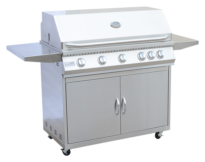 5 Burner 40 Inch Cart Model BBQ Grill With Locking Casters 304 Stainless Steel