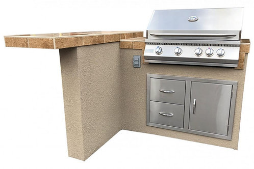 Havana L-Shape BBQ Island With Bar Seating and Built In BBQ Grill 4'x5' BBQ