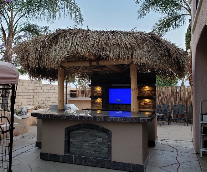 Outdoor Kitchen Palapa with Built-In BBQ Grill T.V. and Refridgerater